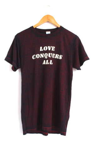 Love Conquers All Maroon Acid Wash Graphic Unisex Tee