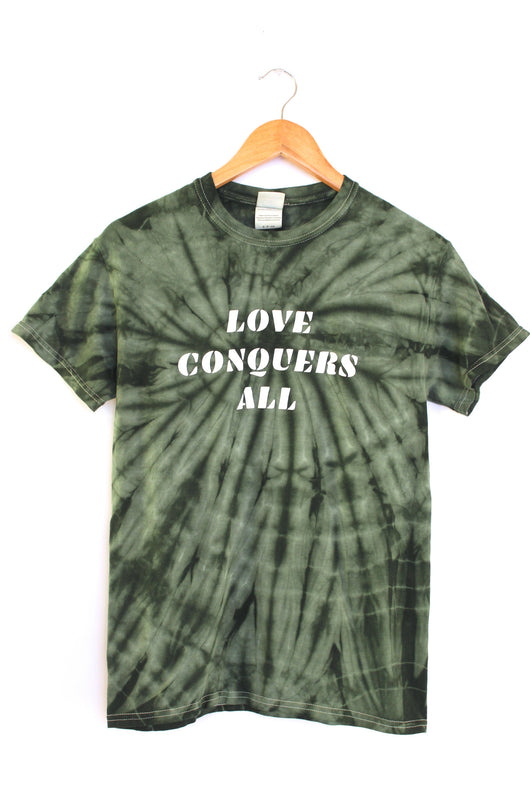 Love Conquers All Green Tie-Dye Graphic Unisex Tee