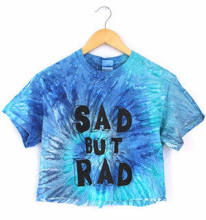 Sad But Rad Blue Tie-Dye Graphic Unisex Crop Top