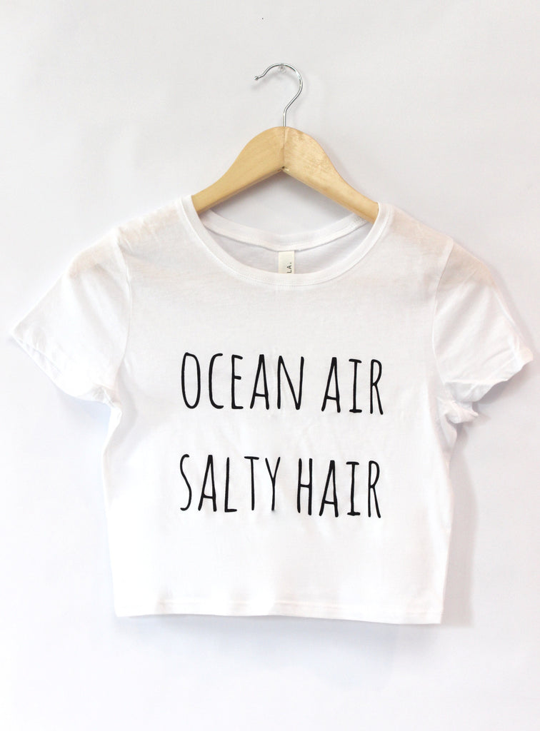 Ocean Air, Salty Hair White Graphic Crop Top