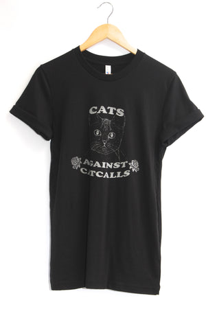 Cats Against Catcalls Black Graphic Unisex Tee
