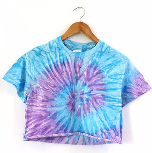 Purple and Blue Tie-Dye Unisex Cropped Tee
