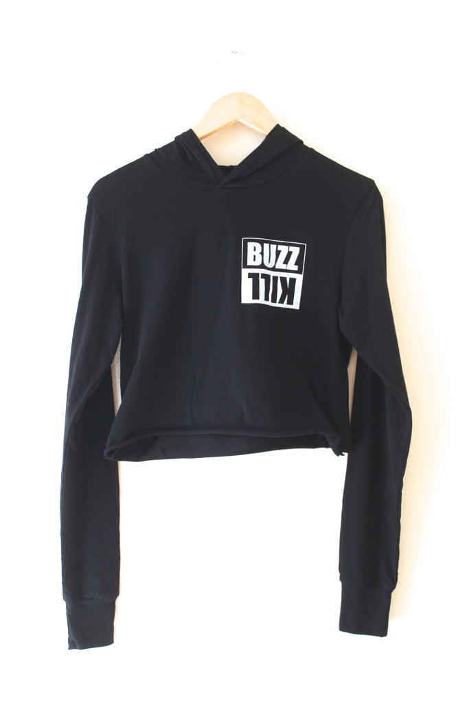 BuzzKill Black Cropped T-Shirt Hoodie
