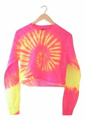 Tropical Neon Tie-Dye Cropped Long Sleeve Unisex Tee