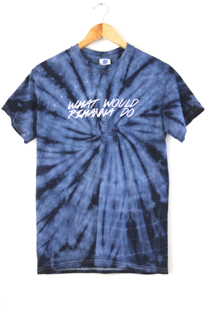 What Would Rihanna Do Navy Blue Tie-Dye Graphic Unisex Tee