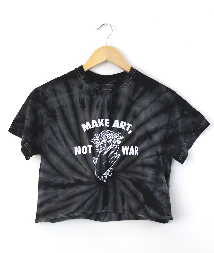 Make Art, Not War Black Tie-Dye Graphic Unisex Cropped Tee
