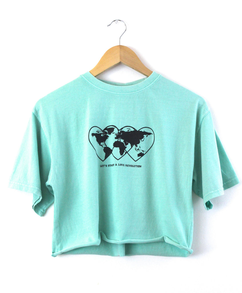 Love Revolution Graphic Mint Oversized Unisex Cropped Tee