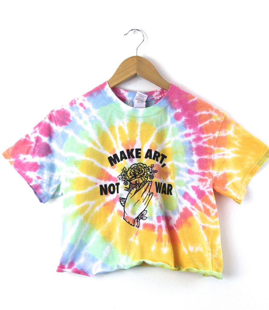 Make Art, Not War Pastel Rainbow Tie-Dye Graphic Unisex Cropped Tee