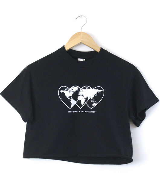 Love Revolution Graphic Black Unisex Cropped Tee