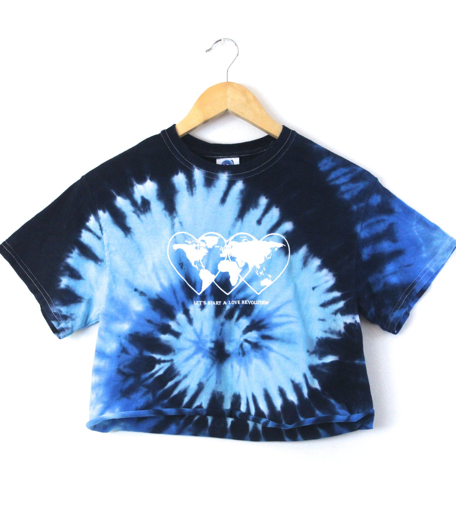 Love Revolution Ocean Tie-Dye Graphic Unisex Crop Top
