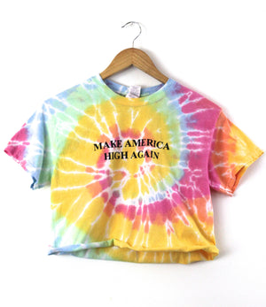 Make America High Again Pastel Rainbow Tie-Dye Graphic Crop Top