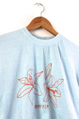 Dump Him Lilies Oversized Graphic Light Blue Unisex Tee