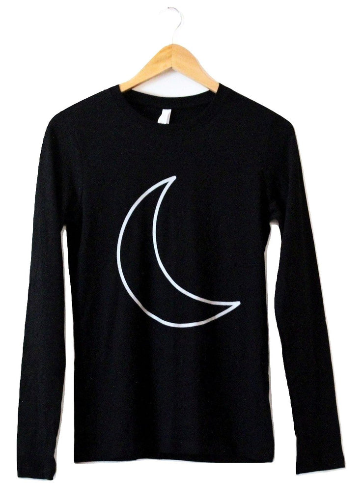Silver Metallic Crescent Moon Women's Graphic Black Long Sleeve Tee