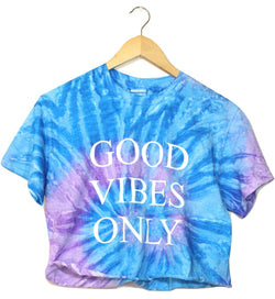 Good Vibes Only Purple and Blue Tie-Dye Graphic Unisex Cropped Tee