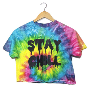STAY CHILL Bright Rainbow Tie-Dye Graphic Unisex Crop Top