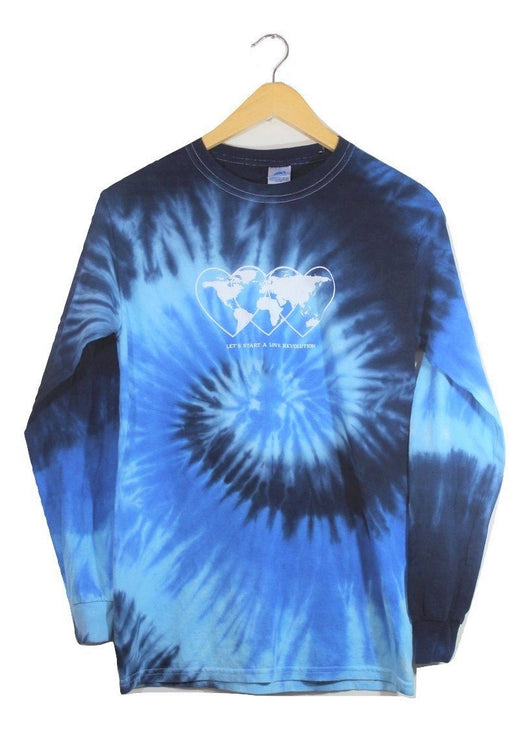Love Revolution Ocean Tie-Dye Graphic Long Sleeve Unisex Tee