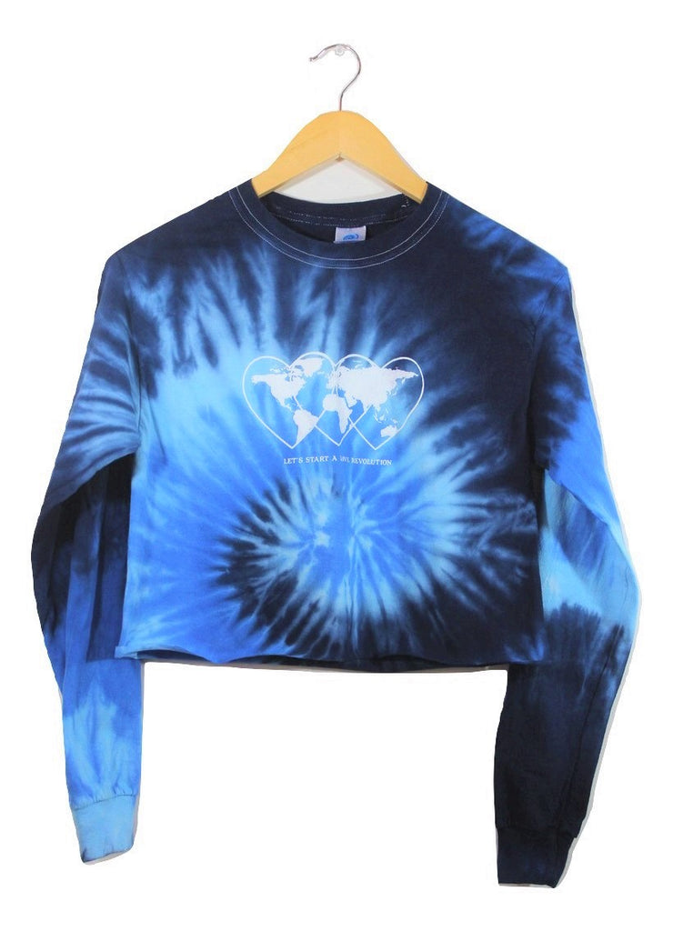 Love Revolution Ocean Tie-Dye Graphic Long Sleeve Unisex Crop Top