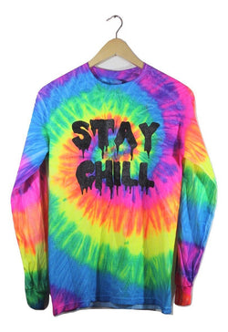STAY CHILL Neon Rainbow Tie-Dye Graphic Long Sleeve Unisex Tee