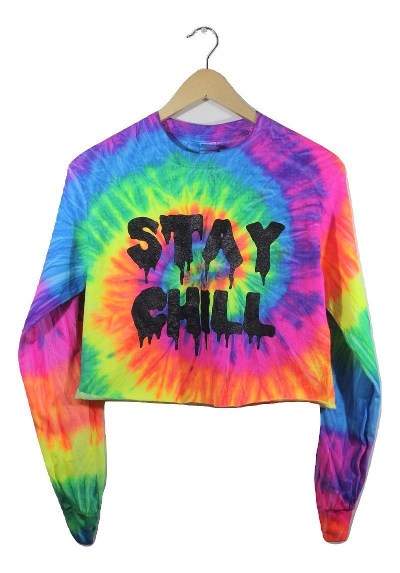 b1448c7a1e6a4 STAY CHILL Neon Rainbow Tie-Dye Long Sleeve Graphic Crop Top – Era of  Artists