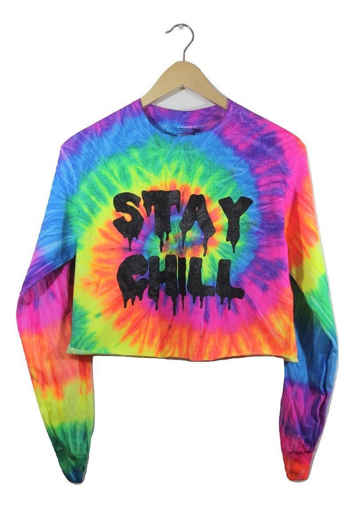 STAY CHILL Neon Rainbow Tie-Dye Long Sleeve Graphic Crop Top