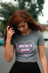 Allergic to People Gray Graphic Crop Top