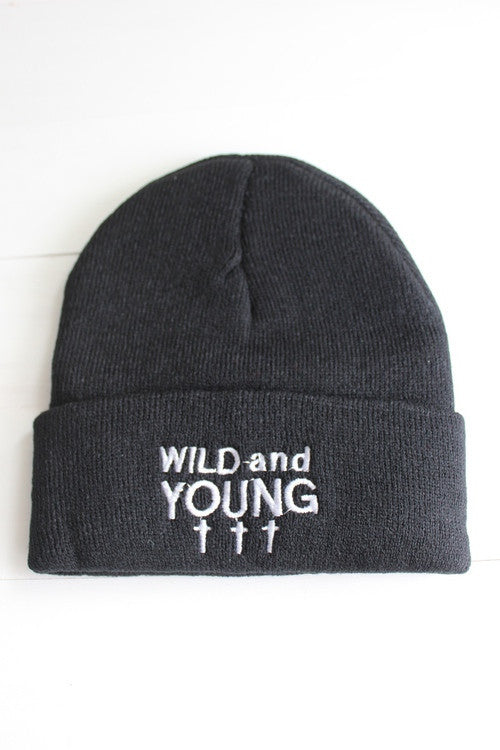 Wild and Young Cross Black Beanie