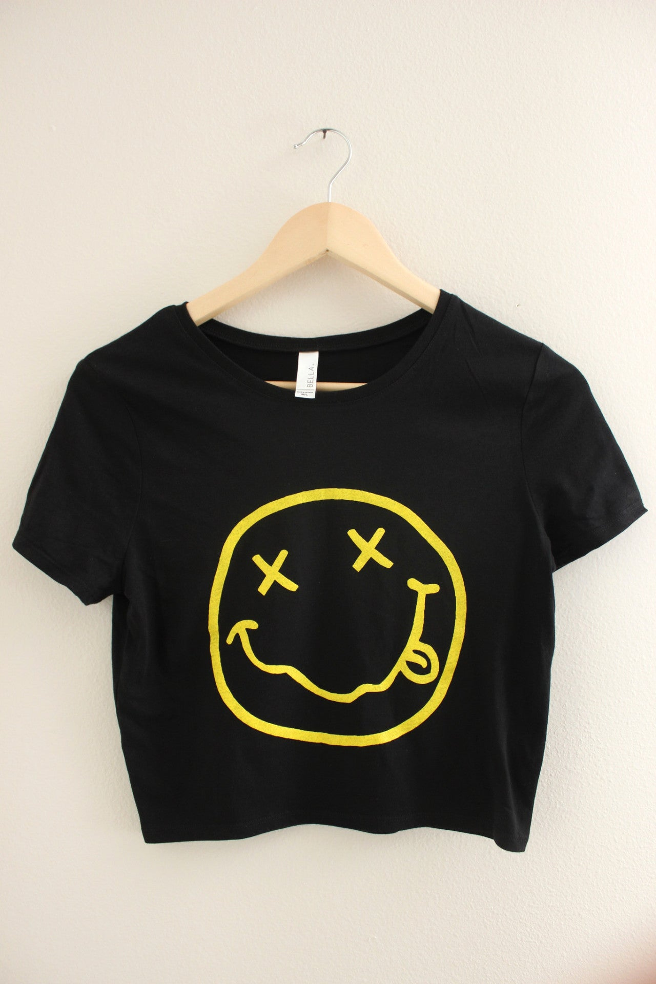 Nirvana Smiley Face Black Graphic Crop Top