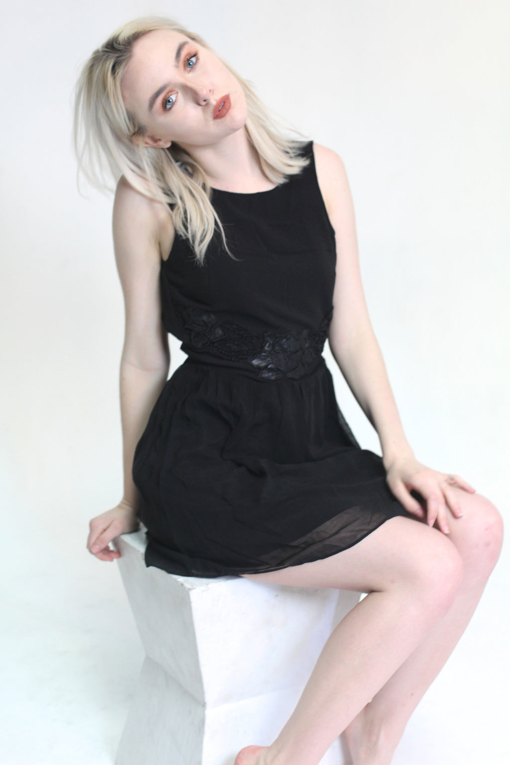 Backless Lotus Flower Little Black Dress