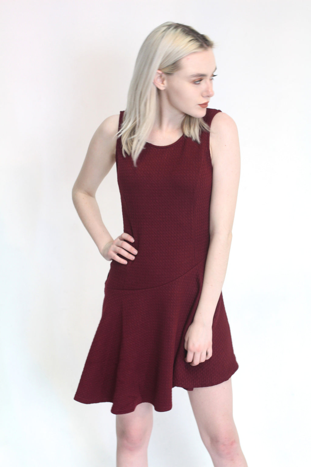 Asymmetrical Burgundy Dress