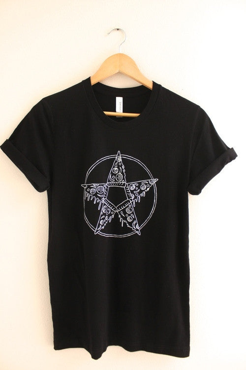 Pizza Pentagram Black Graphic Unisex Tee