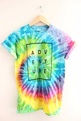 ADVENTURE Bright Rainbow Tie-Dye Graphic Unisex Tee