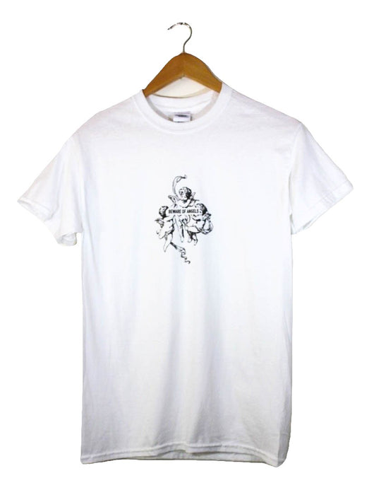Beware of Angels White Graphic Unisex Tee