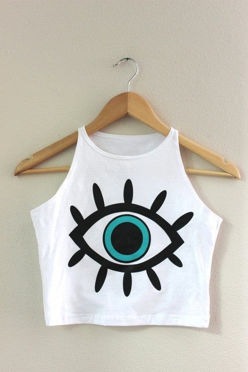 Blue Eye White Halter Crop Tank