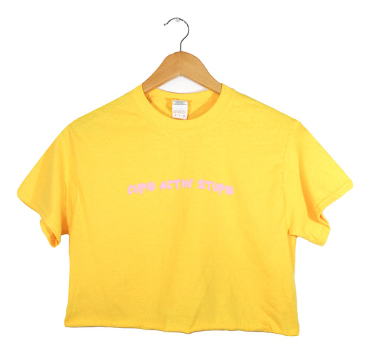 Cupid Actin' Stupid Yellow Graphic Unisex Cropped Tee