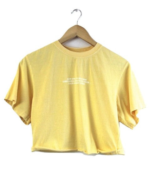 Emotional Baggage Graphic Light Yellow Oversized Cropped Unisex Tee