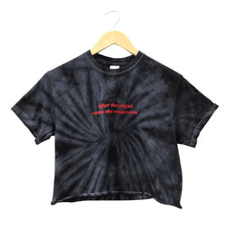 After the Plague Came the Renaissance Black Tie-Dye Cropped Unisex Tee
