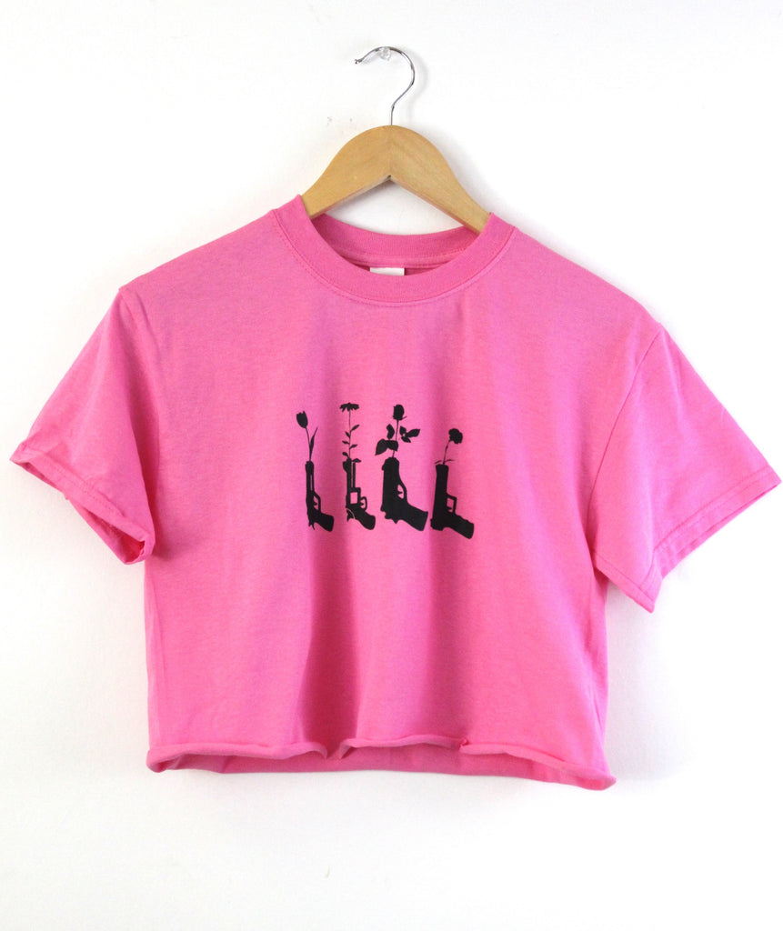 Flower Pistols Bright Pink Graphic Cropped Unisex Tee