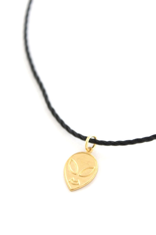 Gold Alien Head Choker Necklace