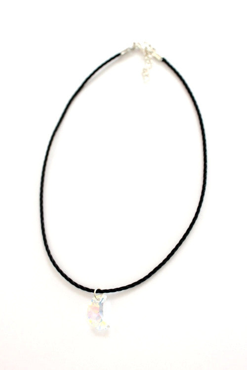 Holographic Crescent Moon Crystal Charm Choker Necklace