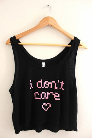 I Don't Care Pixel Graphic Black Flowy Crop Tank