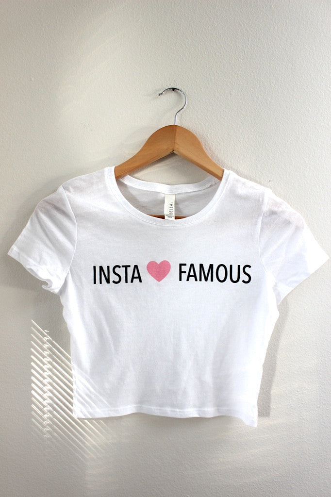 Insta ♥ Famous White Graphic Crop Top