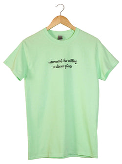 Introverted, But Willing to Discuss Plants Light Green Graphic Unisex Tee