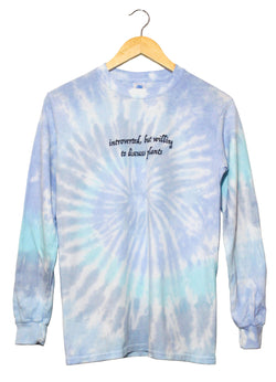Introverted, But Willing to Discuss Plants Blue Tie-Dye Graphic Long Sleeve Unisex Tee