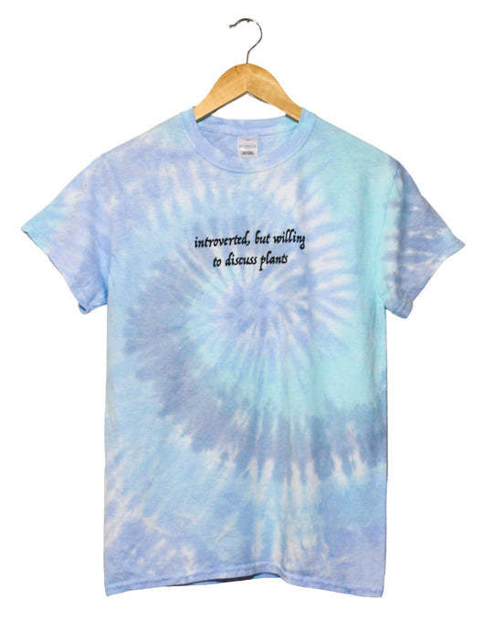 Introverted, But Willing to Discuss Plants Blue Tie-Dye Grapic Unisex Tee