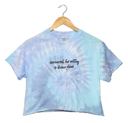 Introverted, But Willing to Discuss Plants Blue Tie-Dye Grapic Cropped Unisex Tee
