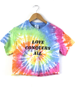 Love Conquers All Pastel Rainbow Graphic Cropped Unisex Tee