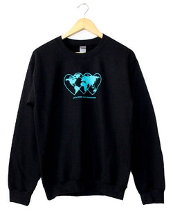 Love Revolution Black Graphic Crewneck Sweatshirt