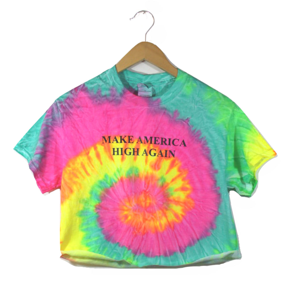 Make America High Again Fluorescent Rainbow Tie-Dye Graphic Unisex Crop Top