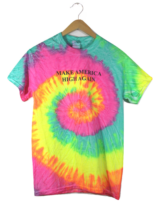 Make America High Again Fluorescent Rainbow Tie-Dye Graphic Unisex Tee