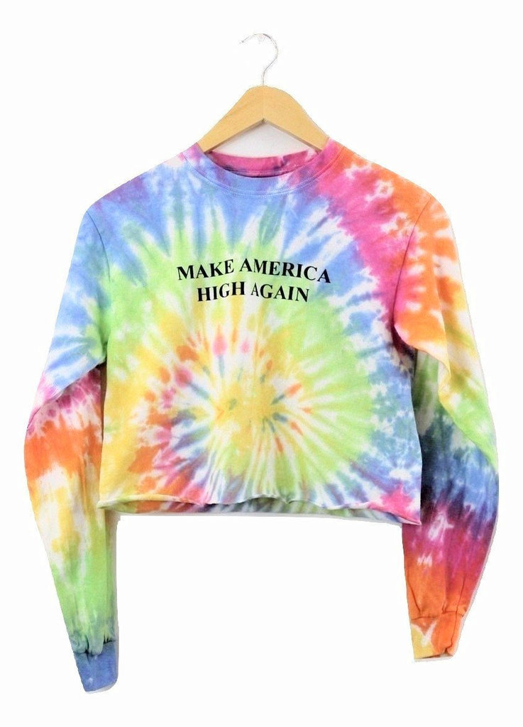 Make America High Again Pastel Rainbow Tie-Dye Long Sleeve Graphic Unisex Crop Top